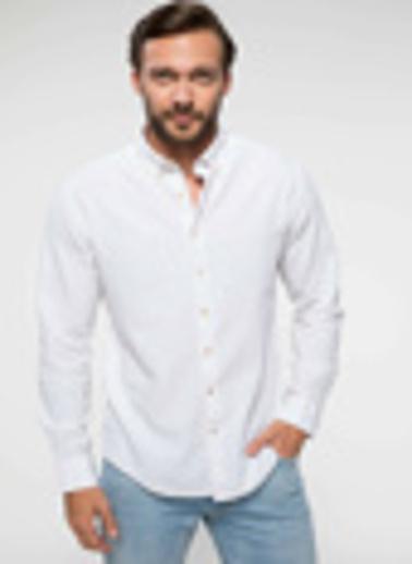 DeFacto Keten Karışım Modern Fit Gömlek Beyaz